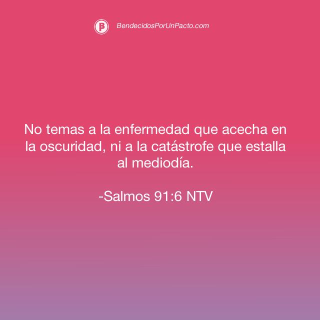 salmo 91:6 No temas a la enfermedad que acecha en la oscuridad, ni a la catástrofe que estalla al mediodía.