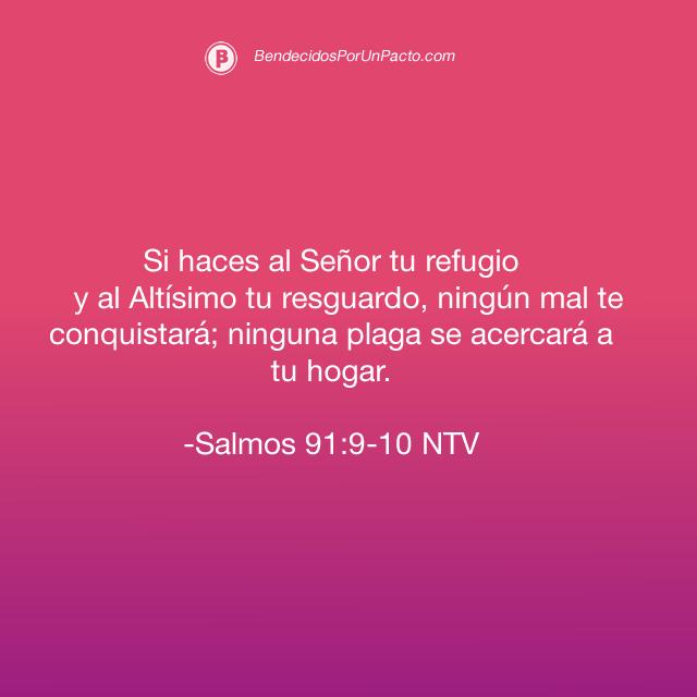 salmo 91:9 Si haces al Señor tu refugio y al Altísimo tu resguardo, 91:10 ningún mal te conquistará; ninguna plaga se acercará a tu hogar.